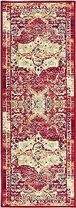 Boarders Rugs 现代(非一平)仿旧红色橡胶底厨房和浴室防滑地毯区域 2'x7'