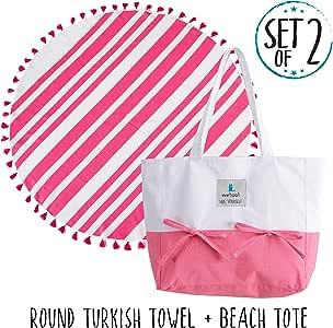 Wetcat 海滩手提包搭配圆形毛巾 (40.64 x 35.56 cm) - * 土耳其 Peshtemal 棉夏季包 - 包括毛巾架、手提带和内袋 - 洗衣机*,时尚 Hot Pink - White
