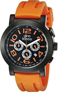 gino franco Men's 9620OR Round Multi-Function Stainless Steel PVD Plated Case Rubber Strap Watch