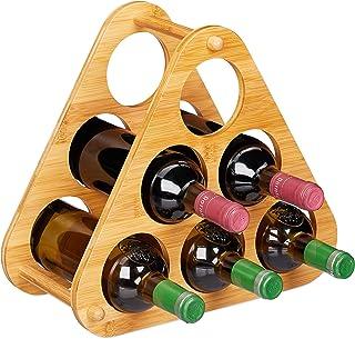 Relaxdays 葡萄酒架 6 瓶 装饰性金字塔 适用于葡萄酒 竹子 三角酒架 高 31 x 34.5 x 19 厘米 自然