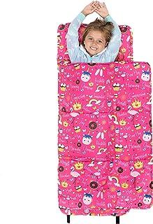 Chanasya Love Hug Play Dream 儿童睡袋 - 代表希望力量幸福冒险乐趣同情反弹想象力适合儿童男孩女孩幼儿日托学前儿童午睡垫 - 粉色