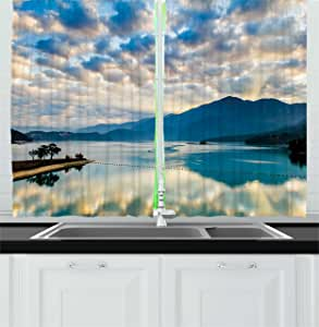 Tropical Kitchen Curtains by Ambesonne, Surreal Cloudy Sky Reflections on Sun Moon Lake Idyllic Nature Asian Landscape, Window Drapes 2 Panels Set for Kitchen Cafe, 55W X 39L Inches, Sky Blue White