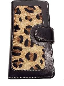 LW-1803 黑色豹纹女士钱包 - 10 个卡槽,1 个卡窗,4 个滑动口袋,1 个拉链口袋,牛皮黑色皮革和牛皮豹纹
