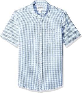 Amazon Essentials 男士修身短袖亚麻棉衬衫