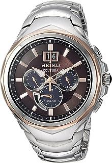 """Seiko 男士""""COUTURA 计时""""石英不锈钢休闲手表,颜色:双色(型号:SSC628)"""