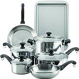 Farberware 11 件套经典传统不锈钢厨具套装 亮灰色 大 70217