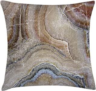 Ambesonne 大理石抱枕靠垫套,Surreal Onyx 石表面图案自然细节艺术图片,装饰方形枕套,肉桂灰褐色 米色