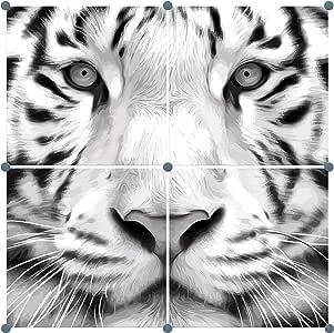 Innova Editions 老虎艺术,白色,50 x 50 x 2.5 厘米