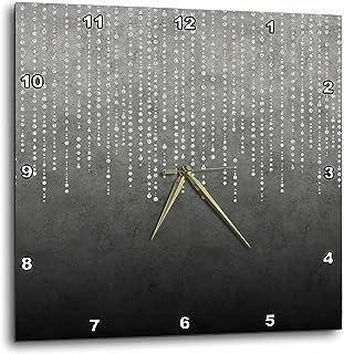 3dRose Andrea Haase 插图 - 银色闪光水钻图案灰色背景 - 挂钟 银色 10x10 Wall Clock dpp_274843_1