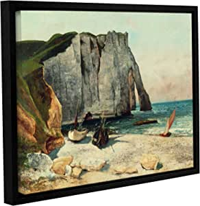 """ArtWall 1cou001a1824f """"Gustave Courbet's The Cliffs Of Etretat, The Port Of Avale, 1869"""" Gallery Wrapped Floater Framed Canvas Art, 18"""" by 24"""""""