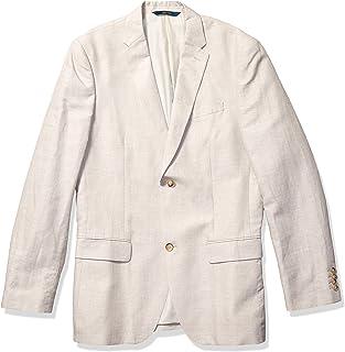 Perry Ellis 男式亚麻双扣缺口领外套