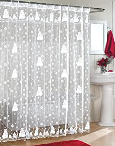Snowman Lace Fabric Shower Curtain 70Wx72L-WHITE