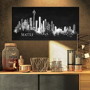 """西雅图黑暗剪影 Cityscape 油画印刷品 32x16"""" PT7603-32-16"""