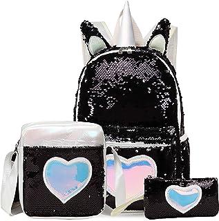 女孩独角兽背包 3D 魔法亮片背包 适合小学生的书包