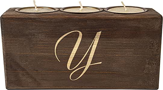 Personalized Rustic Sugar Mold Unity Candle, Letter Y