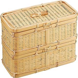 山下工芸(Yamasita craft) 白竹ゴザ目スリム二段弁当箱 32349000