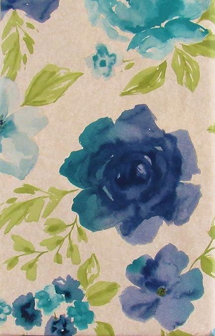 蓝色花卉水彩乙烯基法兰绒背桌布 Multi 52 X 90 Oblong Nantucket