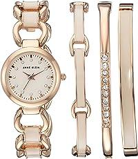 Anne Klein 女士 AK/1952RGST 施华洛世奇水晶点缀玫瑰金色和粉色手表和手链套装