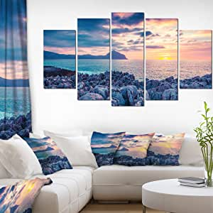 "Designart 5 件卡比利亚风景中的盛开场照片帆布艺术印刷品 蓝色 60x32"" - 5 Panels Diamond Shape PT9592-373"