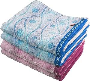 今治品牌 面巾 4件装 蓝色/粉色 約34x80cm -