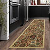 "Ottohome Collection Beige Contemporary Paisley Design Modern Runner Rug With Non-Skid (Non-Slip) Rubber Backing (20""X59"") Kitchen and Bathroom Runner Rug"