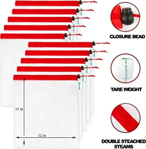 "Glamerge 可重复使用的尼龙产品袋 – 存放蔬菜、水果和玩具 – 抽绳收纳架适用于厨房和家庭整理– 环保、可水洗 – 10件套 白色 Medium (12"" x 13"")"