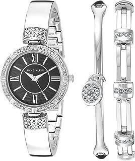 Anne Klein Women's Swarovski Crystal Accented Silver-Tone Bangle Watch and Bracelet Set, AK/3294BKST