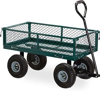 Relaxdays 手推车,实用的拖车,适用于花园,户外运输,可折叠侧边,150公斤,*