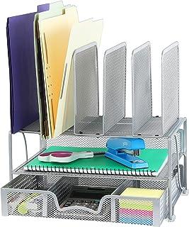 带滑动抽屉的桌面收纳盒,双托盘和 5 个部分 银色