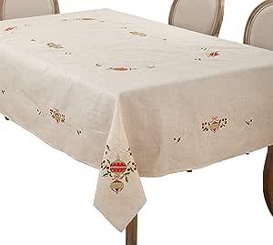 "SARO LIFESTYLE 刺绣装饰餐垫 天然 67"" x 120"" 007.N67120B"