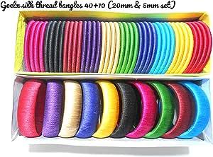 Goelx 丝绸缠绕手镯套装 - 40 + 10 个 Chudi 和 Kada 手镯盒 10 种颜色热卖,非常受欢迎 - 所有尺寸可选 多色 2.8