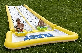 BACKYARD BLAST - 50 英尺水滑梯带保险杠和游泳池,2 个充气骑手和手动泵 - 易于安装 - 超厚防止撕裂和撕裂