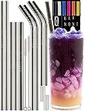 BAR NONE Best 吸管一套 10 个 | 8.5 & 10.5 英寸长宽不锈钢金属饮用吸管全种可重复使用直线和弯曲清洁刷和硅胶尖端吸管刷 Yeti 杯饮料 Tervis 亮灰色