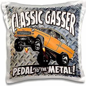 MARK Grace Cars 和野生 RODS–1955chev gasser–图像 OF A 1955gasser Popping Wheelies , ON A 棱纹背景–枕套