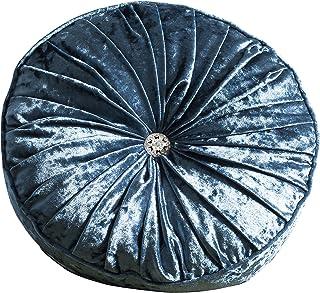 Gallery Direct Loire 圆形天鹅绒垫,金色,40 厘米 蓝绿色 40 cm 5055299499900