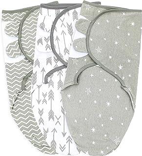 Baby Swaddle Wrap Sack 適合新生兒男孩和女孩 | 0-3 個月| 3 件套可調節嬰兒襁褓毯,帶緊固帶| 透氣軟棉 灰色/白色 小號/中號