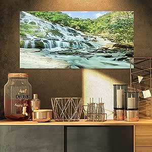 "Designart 4 面板""Magyar Waterfall Landscape Photography""油画印刷品 蓝色 32x16"" PT6480-32-16"
