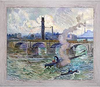 overstockArt La Pastiche Steamboats on The Thames 艺术作品由 Claus 和 Nantucket 白色清洗框架