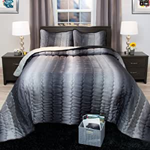 Bedford Home Striped Metallic Bedspread Set - Twin - Charcoal/Silver