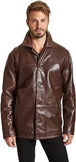 Excelled Leather 男式四扣羊皮车大衣