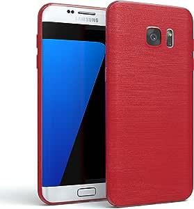 Galaxy S7 Edge 手机壳 - EAZY CASE 高级保护套适用于三星 Galaxy S7 Edge 硅胶缓冲垫,防震超薄外壳 - 各种类型和颜色的智能手机手机壳420907 Red - Brushed