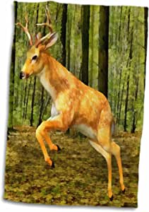 3D Rose Deer in The Forest Leaping TWL_52440_1 毛巾,38.10 cm x 55.88 cm