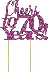 All About Details Cheers to 70 岁! 蛋糕装饰,1 件,70 岁生日,周年纪念,派对装饰,闪光装饰 粉红色 不适用 14182295