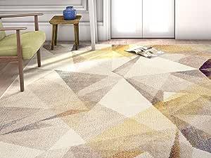HomeWay 几何形状生动的彩虹色软地毯 中世纪现代天鹅绒般明亮的柔软粗地毯