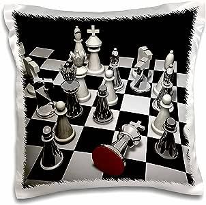 3dRose Sven Herkenrath Hobby 国际象棋 - 优雅黑白象棋盘带银色调兴趣象棋 - 枕套 白色 16x16 inch Pillow Case pc_262471_1