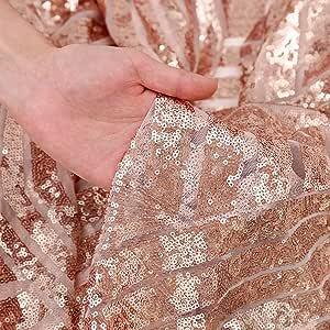 QueenDream 玫瑰金亮片面料 4 码玫瑰金圣诞亮片织物亮片桌布长亮片桌布 DIY 派对礼服面料 钻石 4 yards QD4YardDiamond