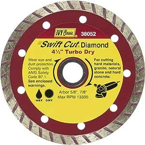 IVY Classic Swift Cut 4 英寸干湿切割涡轮连续边缘钻石刀片,带 20 毫米 - 5/8 英寸弧形 4-1/2-英寸 11I38052