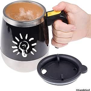 Kare & Kind Self Stirring 咖啡杯自动搅拌不锈钢杯,适用于早餐咖啡/茶/热巧克力/牛奶/可蛋白色调味杯适合办公室/厨房/旅行/家用 黑色 13.5 Ounce