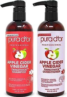 PURA D'OR 苹果醋 Thingar Thin2浓密洗发水和护发素(2 x 16盎司)生物素,角蛋白,咖啡因,铸造油,不含硫酸盐,天然成分,所有发型,男女(包装可能不同)