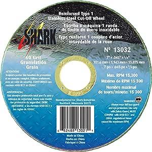 Shark Welding 13032 鲨鱼 17.78 厘米 x 1.22 厘米 x 2.22 厘米 Ss 60 粒 1 型切割轮 5 件装 13032